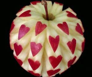 apple, fruit, and hearts image