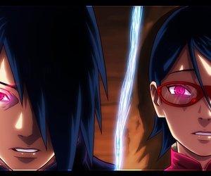 anime, sasuke uchiha, and sarada uchiha image