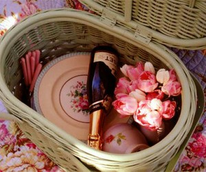 picnic, flowers, and pink image