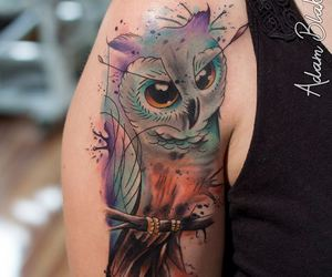 owl, tattoo, and watercolor image