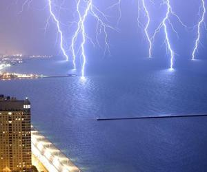 lightning, sea, and storm image