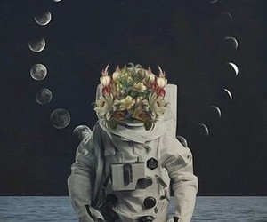 moon and spaceman image