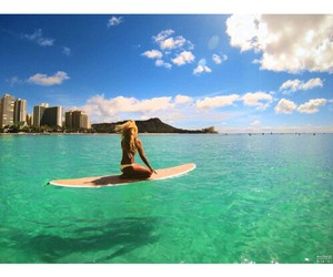 girl, paradise, and surf image