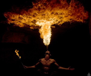fire and man image