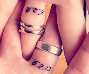 anniversary, couple tattoo, and date image