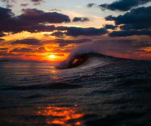 sea, sunset, and waves image