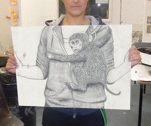 art, girl, and monkey image