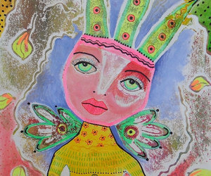outsider art painting, figurative raw art, and folk art painting image