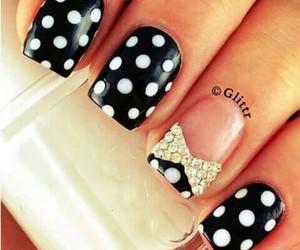 nails, black, and bow image