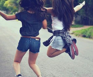 best friends, girls, and pretty hair image