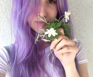 purple, hair, and flowers image