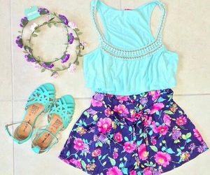 fashion, blue, and flowers image