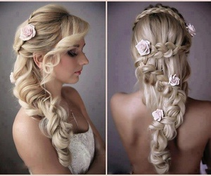 blonde, braided, and flowers image