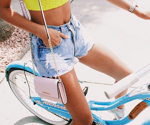 girl, outfit, and bike image