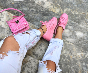 pink, adidas, and ripped jeans image