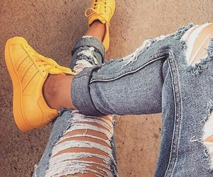 yellow, jeans, and adidas image