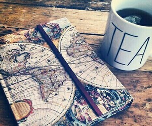 tea, book, and travel image