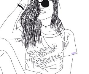 bebe, black, and drawing image