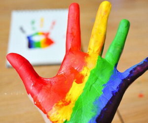 hand, colors, and rainbow image