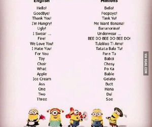 minions, language, and funny image