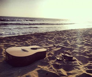 beach, guitar, and happiness image