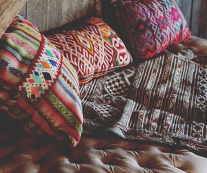 bed, colourful, and cosy image