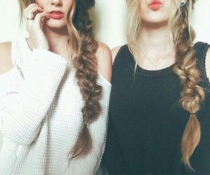 best friends, braid, and fashion image