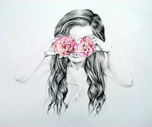 art, drawing, and pink flower image