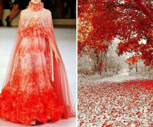 dress, nature, and red image