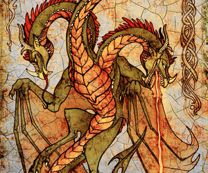 dragon, art, and fire image