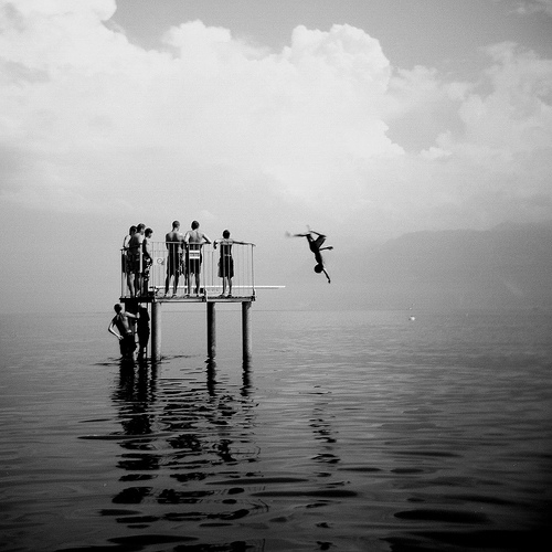 black and white, jump, and boys image