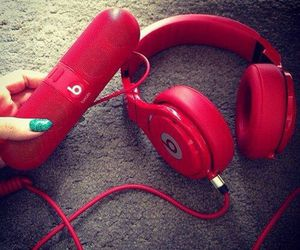 red, beats, and music image
