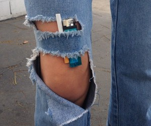 jeans, cigarette, and grunge image