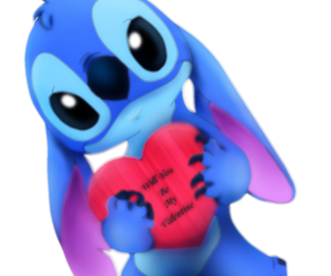 blue, heart, and stich image