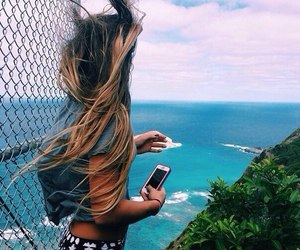 blond, hair, and ocean image