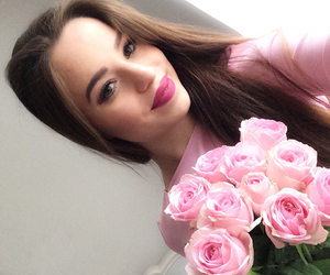 flowers, lipstick, and longhair image