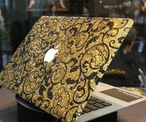 apple, laptop, and gold image