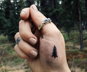 black, ring, and little tattoos image