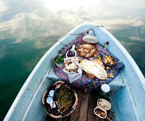 food, boat, and sea image