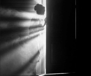 light, door, and black and white image