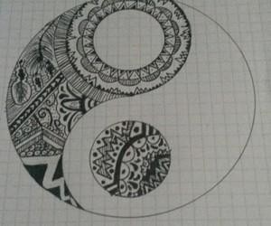 art, mandala, and ying yang image