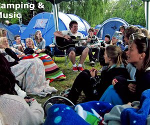 camping, festival, and guitar image