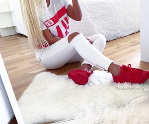 fashion, red, and white image