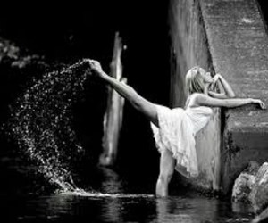 dance, water, and black and white image