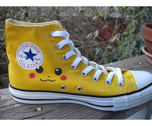 all star, shoes, and pikachu image
