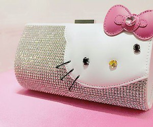 hello kitty, pink, and bag image