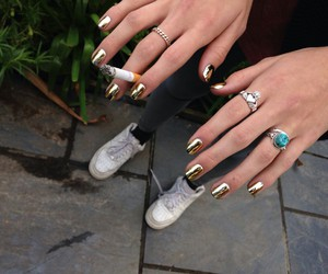 nails, gold, and cigarette image