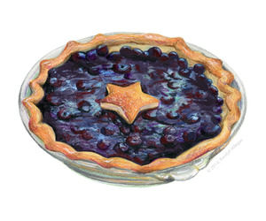 blueberry, tart, and watercolor image