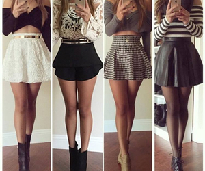 outfits, skirts, and crop tops image