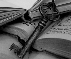 black and white, book, and key image